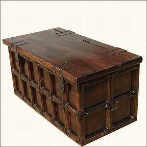 solid wood iron rustic coffee table storage trunk With decorative trunk coffee table