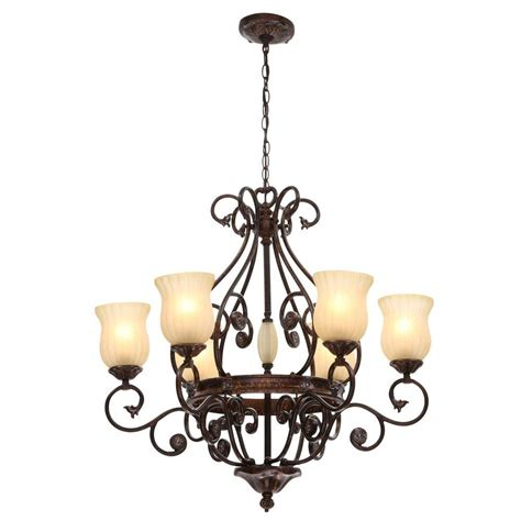Hanging From The Chandeliers by Hton Bay Freemont 6 Light Hanging Antique Bronze