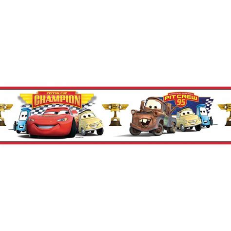 roommates cars piston cup chion peel and stick wallpaper border rmk1517bcs the home depot