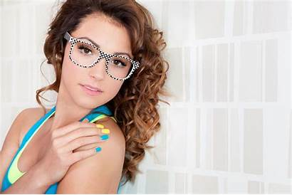 Frames Round Faces Glasses Wearing Attractive Woman