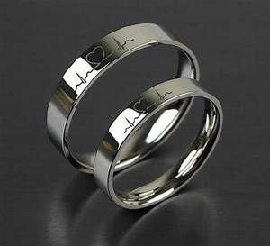 2 pcs free engraving electrocardiogram promise rings With wedding bands couple rings