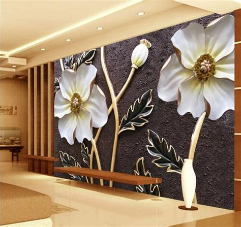 embossed white floral wallpaper  walls   large photo