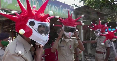 Indian police use coronavirus-themed equipment to get the