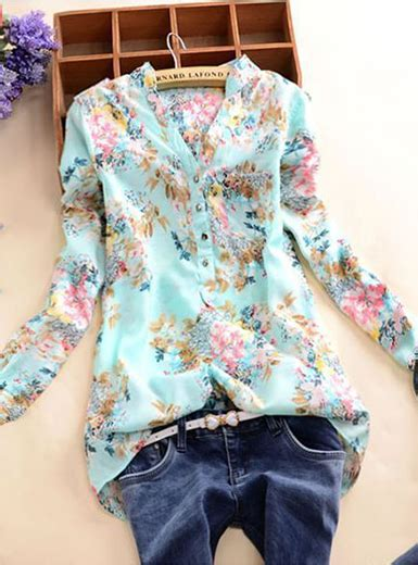 long sleeved floral blouse pale blue