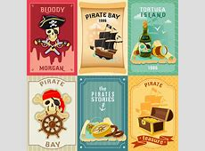 Pirate Flat Icons Composition Poster Stock Vector Image