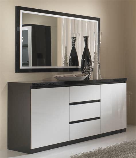 lit canapé bahut 2 portes 3 tiroirs roma laqué bicolore noir blanc
