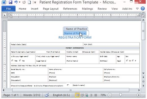 microsoft word form template free patient registration form template