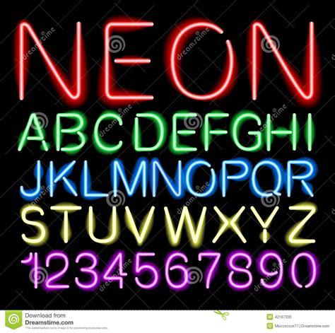 neon light letters font font neon light stock vector image 42167330