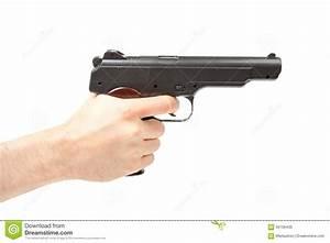 Man s hand holding gun, isolated on white