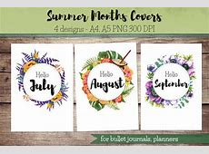 Summer Months Covers for Bullet Journal Planner hello July