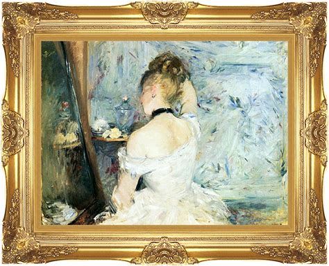 berthe morisot at toilette 12x16 framed canvas giclee print with majestic gold frame