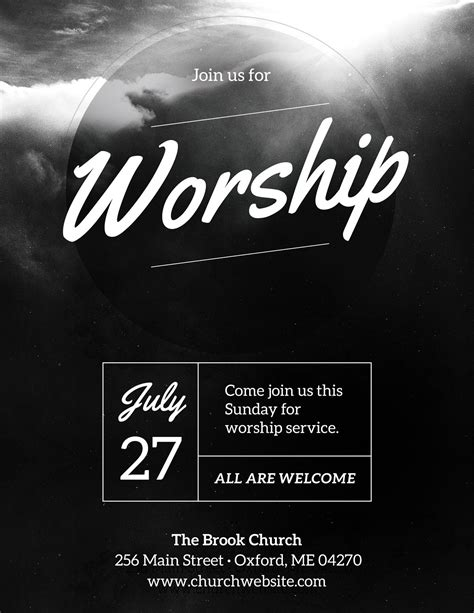 DIY Church Event Flyer Template - Heavenly Worship - (For