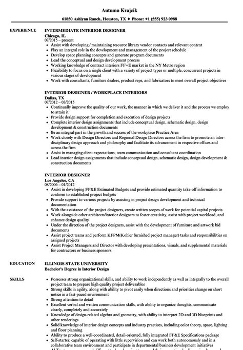 Interior Designer Resume by Interior Designer Resume Sles Velvet
