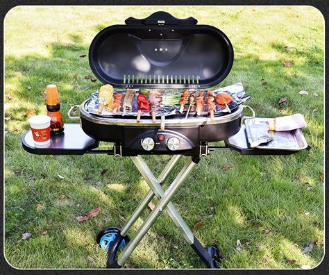 bbq trolley integrated grill gas outdoor barbecue portable camping garden picnic stove