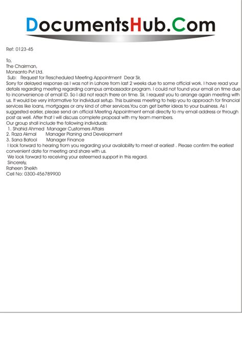 Here are sample request emails to ask an academic advisor or a professor for a reference, with tips on what respect people's schedules — if possible, request a reference letter several weeks in advance of if you need any additional information, please contact me via email or phone. Request Letter for Rescheduled Meeting Appointment | DocumentsHub.Com