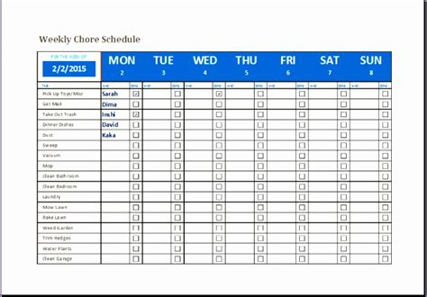 chore chart template excel exceltemplates exceltemplates