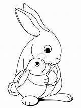 Coloring Pages Rabbits Animals Printable sketch template