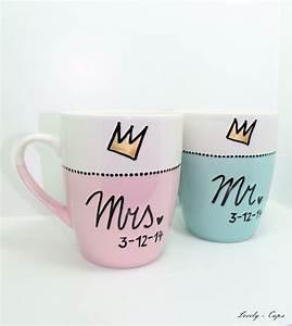 Tasse Mr Mrs : hochzeit tassen set das hochzeitsgeschenk mrs mr cups mit goldener krone von lovely cups ~ Teatrodelosmanantiales.com Idées de Décoration