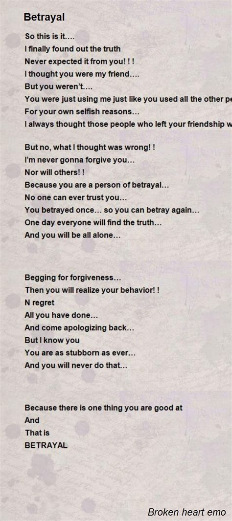 betrayal poem  broken heart emo poem hunter comments