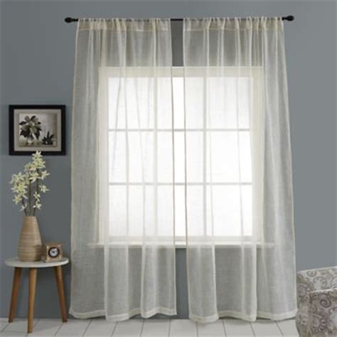linen sheer curtains bed bath and beyond buy sheer 108 inch window curtain panel in linen from bed