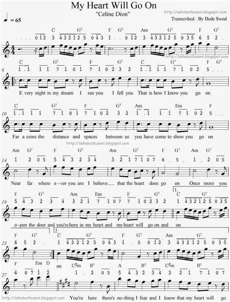 not angka how far i ll go not balok not angka juga lirik chord my will go on