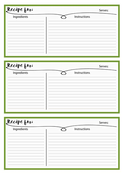 printable recipe sheets