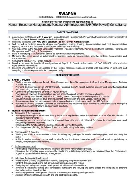Employee Resume Format by Hr Executive Sle Resumes Resume Format Templates