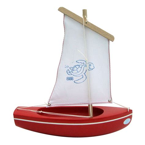 Sailing Boat Toy by Spirited Mama Wooden Toy Sailing Boat Red 203 Turtle