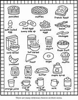 Coloring Breakfast Pages Printable Menu Items Recipes English Kitchen Foods Books Sheet Easy Cat Kid Groups Cute Cut Meals Colorng sketch template