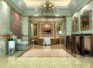 Luxury villa interior design the entrance and kitchen   3D ...