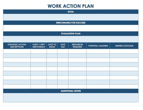 work action plan examples docs word examples