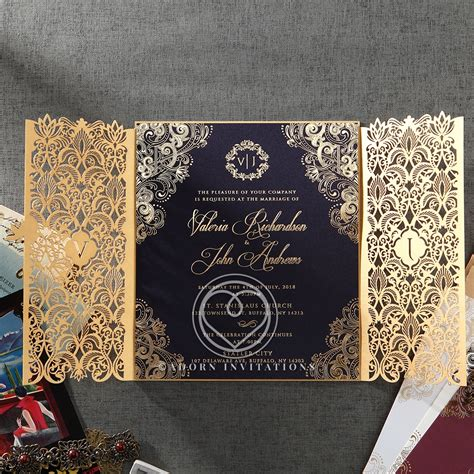 Gold Foil w/Navy Elegant Glamorous Wedding Invitation