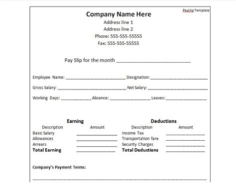 Payslip Template Malaysia by Payslip Template Format Word And Excel Excel Tmp