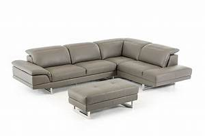 divani casa foxglove adjustable headrests leather sectional With leather sectional sofa with adjustable headrest