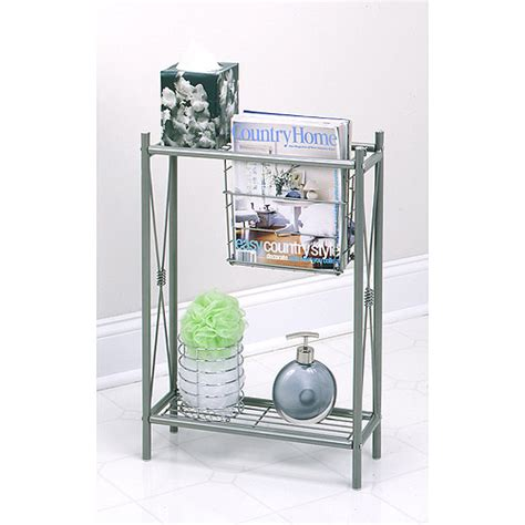 """cross Style"" Magazine Rack With Shelves, Satin Nickel"