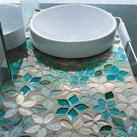 mosaic countertop decoration ideas leaves and flowers glass mosaic