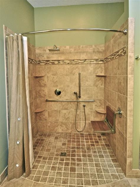 curbless shower on a budget with curved shower curtain