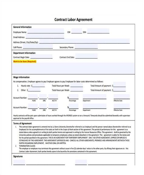 contract labor contract form 30 contract agreement forms