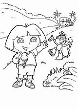 Dora Coloring Pages Ice Cream Explorer Boots Sheets Printable Children Around Colouring Enjoying Rugrats Icecream Facehugger Template Eating I459 Photobucket sketch template