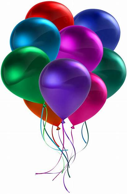 Balloons Transparent Clip Birthday Clipart Bunch Colorful
