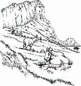 Coloring Landscape Mountains Printable Mountain Iceberg Colouring Template Scenery Rocky Lion Getdrawings sketch template