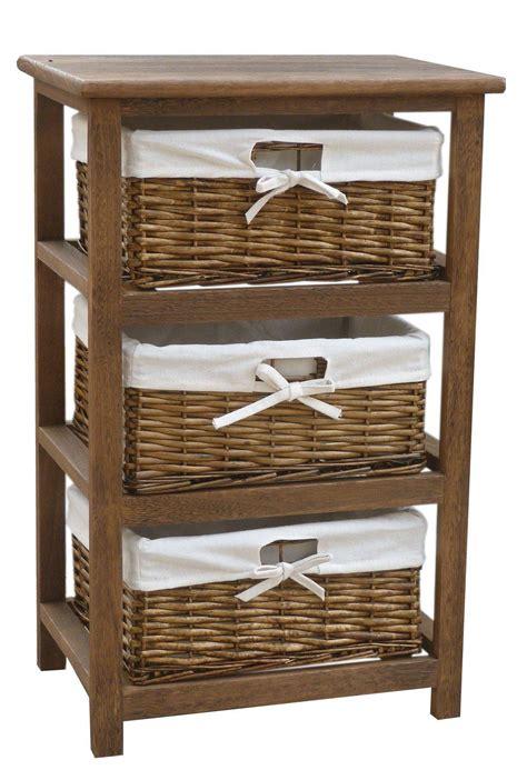 storage shelf with baskets bentley home wooden storage cabinets with 3 wicker basket