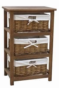 storage with baskets Bentley Home Wooden Storage Cabinets With 3 Wicker Basket