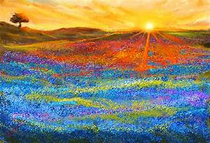 Bluebonnet Horizon - Bluebonnet Field Sunset Painting by