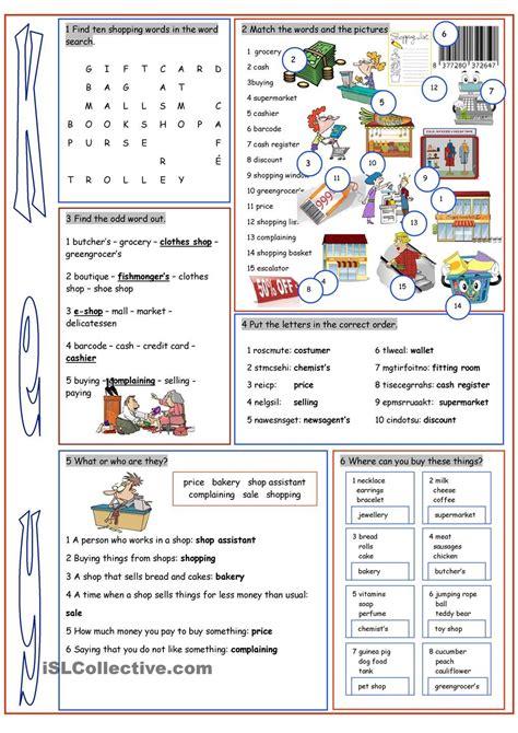 shopping vocabulary exercises enkku
