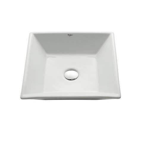 Square Bathroom Sinks Home Depot by Kraus Flat Square Ceramic Vessel Bathroom Sink In White