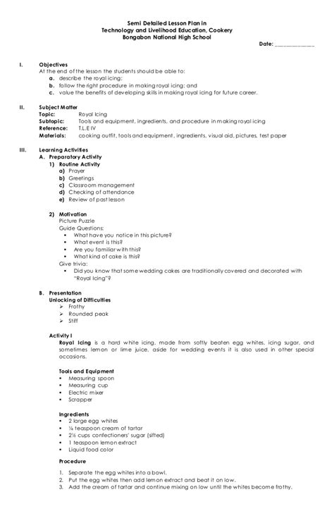 semi detailed lesson plan  tle cookery