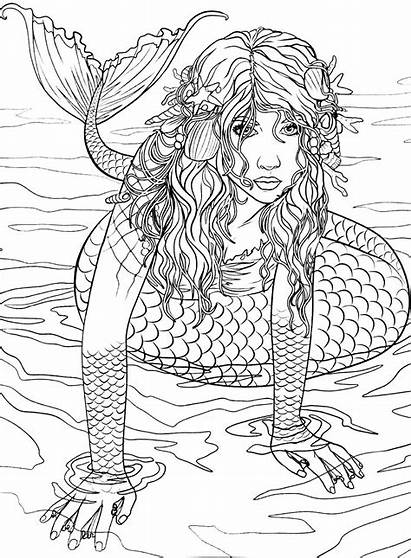Mermaid Coloring Pages Books Mermaids Adult Adults