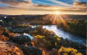 Nature, Landscape, Sun, Rays, Fall, River, Sunrise, Hill, Trees, Shrubs, Clouds, Ukraine, Water