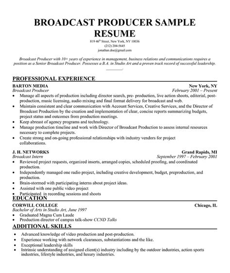 broadcast producer resume sle http resumecompanion